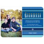 Hanukkah Photo Card - Blue Menorah Stripes