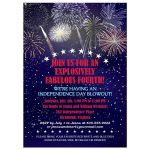 Independence Day Party Invitation - Night Sky Fireworks July 4th