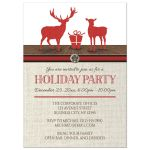 Holiday Party Invitations - Rustic Deer Burlap Red