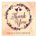Watercolor Wreath Baby Shower Thank You Favor Tags