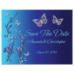 Royal blue and turquoise floral save the date post card