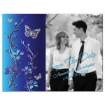 Royal blue and turquoise floral photo save the date post card