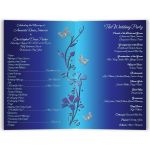 Royal blue and silver butterfly floral order of service