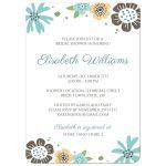 Cute wedding bridal shower invitation with pretty brown and aqua blue flowers.