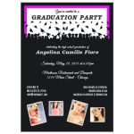 Cute Black And Pink Silhouette Graduation Party Photo Invitation