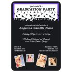 Cute Black And Purple Silhouette Graduation Party Photo Invitation
