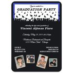 Cute Black And Royal Blue Silhouette Graduation Party Photo Invitation