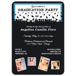 Cute Black And Blue Silhouette Graduation Party Photo Invitation