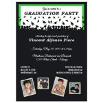 Cute Black And Green Silhouette Graduation Party Photo Invitation