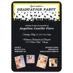 Cute Black And Lemon Yellow Silhouette Graduation Party Photo Invitation