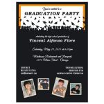 Cute Black And Orange Silhouette Graduation Party Photo Invitation
