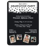 Cute Black And Silver Silhouette Graduation Party Photo Invitation