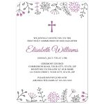 Cute fFirst Holy Communion or confirmation invite with purple flower and nature doodle design borders.