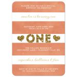 Stripes & Glitter 1st Birthday Party Invitations front