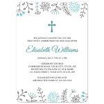 Aqua blue nature doodle border modern First Holy Communion or confirmation invitation.