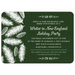Holiday Party Invitation - Green Wintry Pine Christmas
