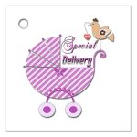 Cute Pink Striped Special Delivery Gift And Party Favor Tags