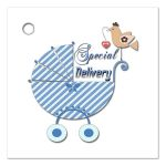 Cute Blue Striped Special Delivery Gift And Party Favor Tags