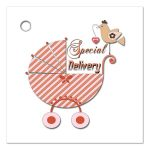 Cute Orange Striped Special Delivery Gift And Party Favor Tags