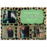 Funky Leopard And Lime Save The Date Photo Announcements
