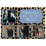 Funky Leopard And Blue Save The Date Photo Announcements
