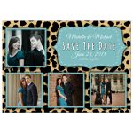Funky Leopard And Teal Save The Date Photo Announcements