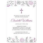 Purple doodle flower borders, a modern baptism or christening invite for baby girls.