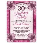 Fuchsia Flowers 30th Birthday Party Invitations front