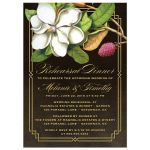 Elegant Vintage Southern Magnolia Wedding Rehearsal Dinner Invitations front