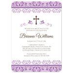 Elegant baptism or christening invitation for baby girls with ornate, purple damask borders.