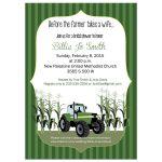 Green Tractor Farm Bridal Shower Invitation