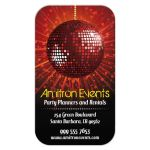 Business Card - Party Planning Equipment Rental Red Mirror Ball