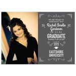 Graduation Photo Announcement - Gray Typographic Ornamental