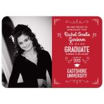 Graduation Photo Announcement - Red Typographic Ornamental