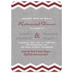 Rehearsal Dinner Invitation with marsala chevrons on an illustrated linen background