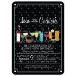 Party Invitation - Retro Cocktails on Black