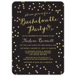 Gold & PInk Confetti Bachelorette Party Invitations front