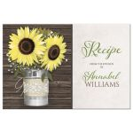 Recipe Cards - Personalized Rustic Sunflower and Wood