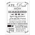 Black and white vintage poster post-wedding reception invitation