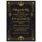 ​Roaring 20s art deco black and gold damask engagement party invitation front