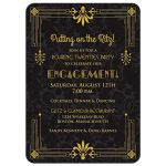 Roaring 20s art deco black and gold damask engagement party invitation front