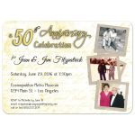 Contemporary Love Letters Golden 50th Anniversary Photo Invitation