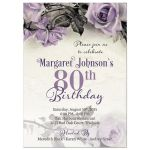 Vintage purple, grey, and ivory rose 80th birthday party invitation front
