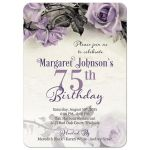 Vintage purple, grey, and ivory rose 75th birthday party invitation front