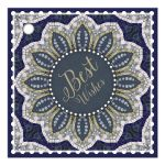 Blue Gold Sparkle Mandala Gift Tag