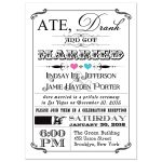 Black and white vintage poster post-wedding reception invitation with pink and blue hearts