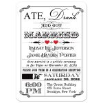 Black and white vintage poster post-wedding reception invitation with red hearts