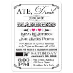 Black and white vintage poster post-wedding reception invitation with fuchsia pink hearts