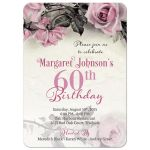 Vintage pink, grey (gray), and ivory rose illustration 60th birthday party invitation front