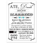 Black and white vintage poster post-wedding reception invitation with blue hearts